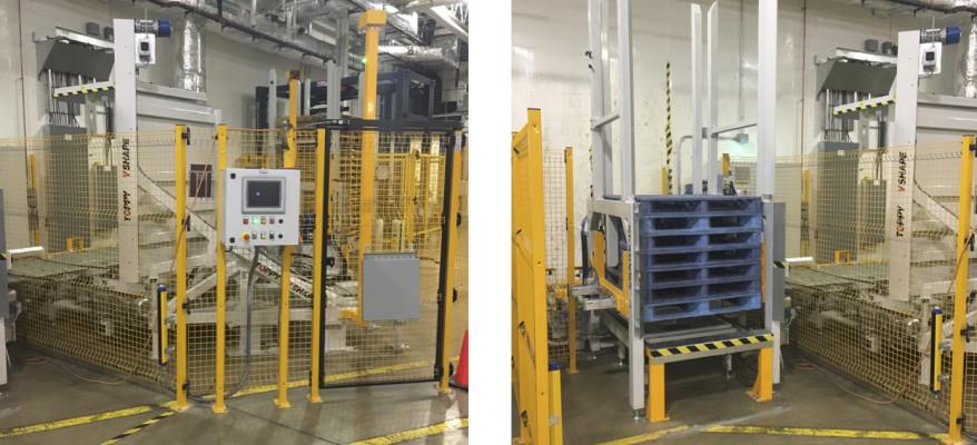 V Shape 120 Inline Pallet Stacker And Pallet Dispenser